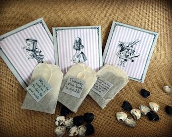 Set of 3 Alice in Wonderland Novelty Tea Bag Envelope & Tea Bag