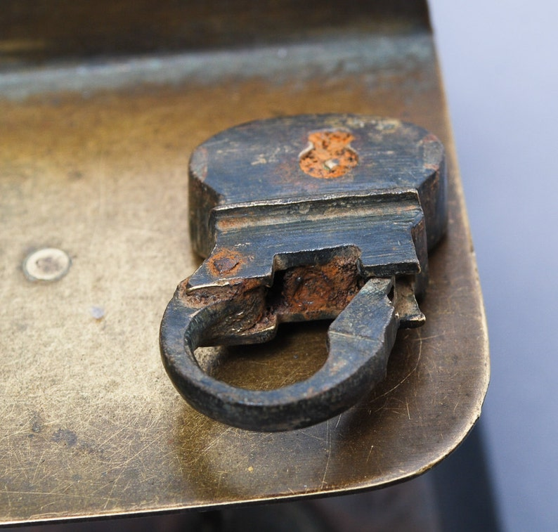 Antique miniature brass padlock original dark patina.