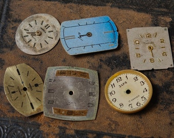 Lot of 6 different  vintage  watch faces, dials