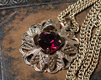 Vintage filigree pendant, necklace,  silver plated metal with violet glass rhinestone