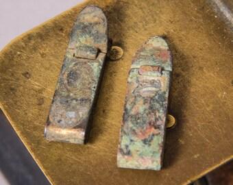 Set of 2 Antique brass money clips, dark patina