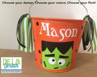 halloween bucket personalized halloween trick or treat 10 etsy