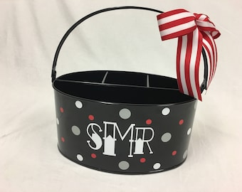Personalized Desk organizer or Utensil holder, oval metal bucket, caddy, name or monogram or other design, teacher, baby gift, college dorm