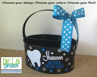 Personalized Desk organizer or Utensil holder, oval metal bucket, caddy, name or monogram or other design, dental hygienist, nurse, title