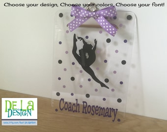 Personalized clipboard: Personalized with name clear acrylic clipboard, dance, gymnastics, or any sport, coach gift
