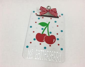 Personalized with name clear acrylic Clipboard, Cherry or other design, polka dots, back to school gift, teacher appreciation