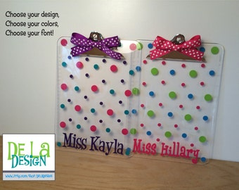 Personalized with name clear acrylic clipboard, flowers, polka dots or other design, teacher, students, sorority, back to school