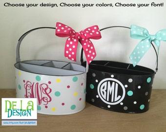 Personalized Desk organizer or Utensil holder, oval metal bucket, caddy, name or monogram or other design, teacher, baby gift, dorm room