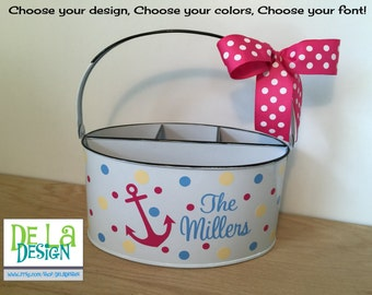 Personalized Desk organizer or Utensil holder, oval metal bucket, caddy, Family name, anchor or other design, teacher gift, baby gift