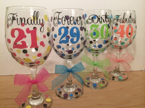 Milestone Birthday Personalized Wine Glass Extra Large 20 Oz Etsy