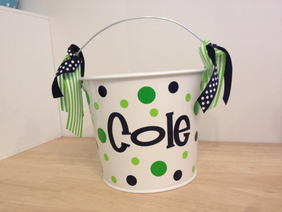 Personalized Easter Basket 5 Quart Metal Bucket Name Or Etsy