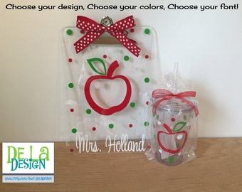 Teacher Gift set: Personalized with name clear acrylic clipboard and drinkware, teacher apple or other design