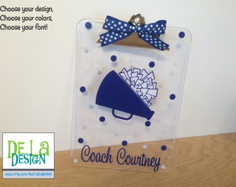 Personalized clipboard: Personalized with name clear acrylic clipboard, Cheer, dance, gymnastics, or any sport, coach gift, Cheerleader, pom