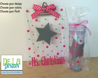 Teacher Gift set: Personalized with name clear acrylic clipboard and drinkware, teacher star or other design