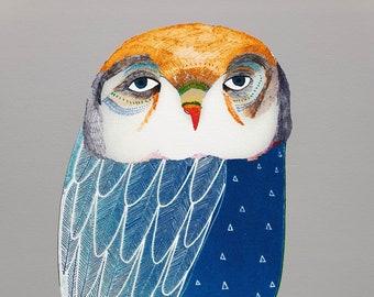 Blue Night Owl. Children's illustration, art print.