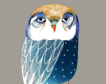 Blue Night Owl. Children's illustration, art print.
