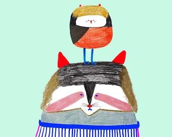 Raccoon and Owl. illustration art print for kids and nursery children's illustration.