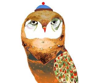 Owl with blue hat. Illustration Art Print, kids art, nursery decor, owl art.