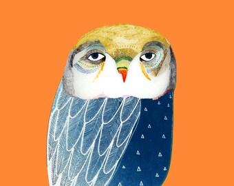Golden Headed Owl. home decor - wall art - wall decor - animal art prints - office decor - illustration art print - owl decor - home decor.