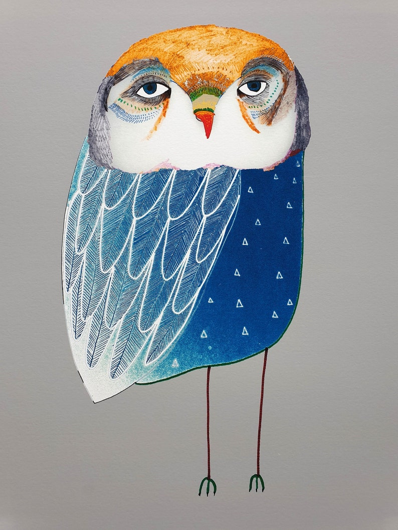 Blue Night Owl. Children's illustration art print. image 1