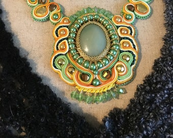 Orange and Lime Sherbet - Soutache Necklace and Earring Set