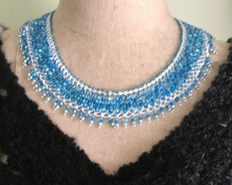 Blue Lace- Bead Woven Necklace