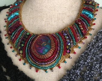 Egyptian Princess luxe multicolored beaded necklace, tribal necklace, statement necklace in rich purple, red, turquoise and gold
