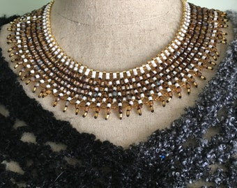 Lace Netted Necklace, Brown Fire Polish Beads, White and Gold Seed Beads