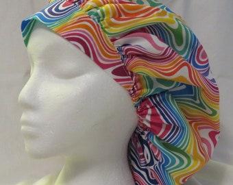 Rainbow Brush Strokes Bouffant Scrub Hat JO068