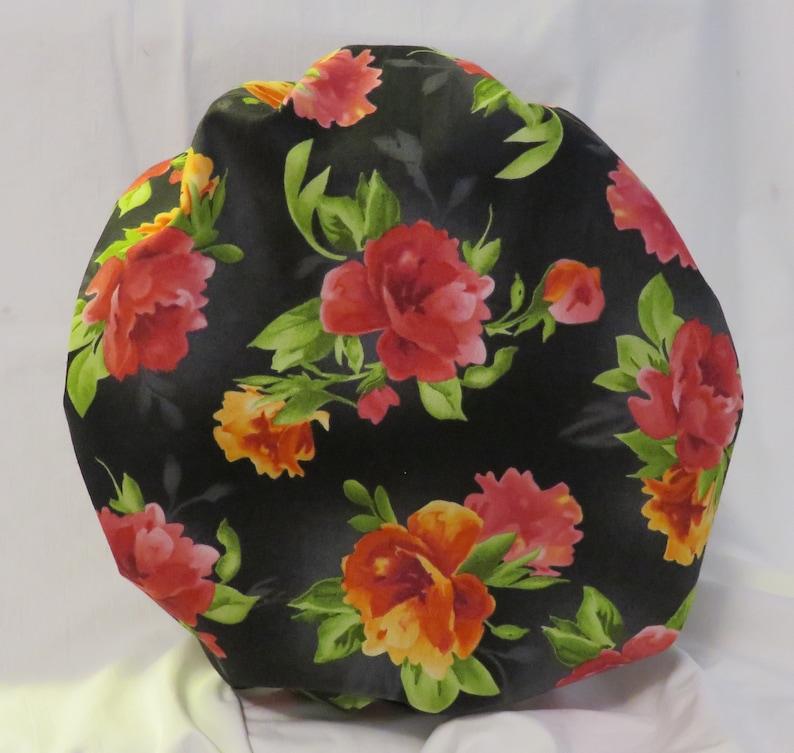 Floral on Black Bouffant Scrub Hat JO088