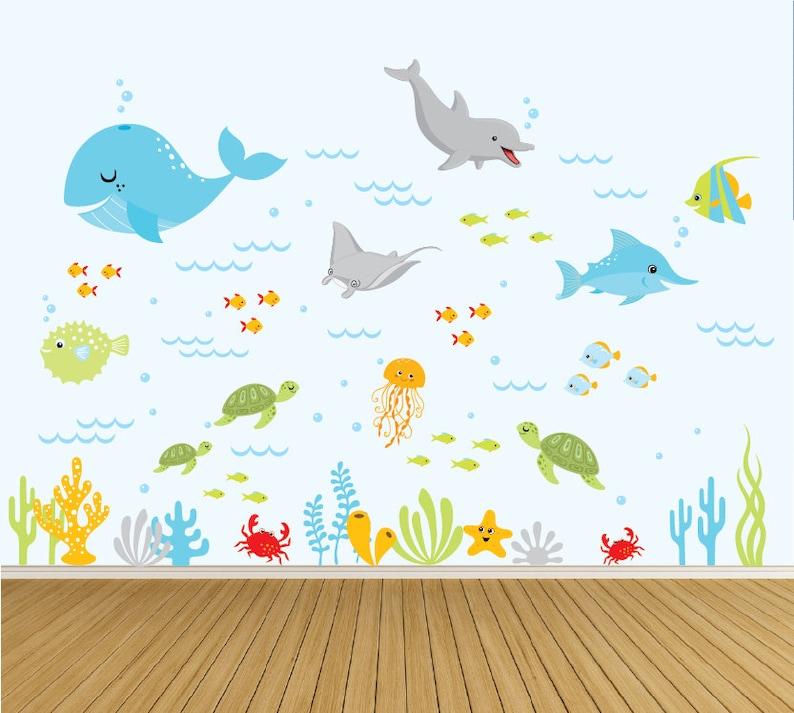 ocean wall decals nursery wall decals underwater sea decals | etsy