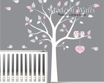 Tree Wall Decal Huge Tree wall decal Wall Mural Stickers Nursery Tree and Birds Wall Art Heart with  Custom Name-e04