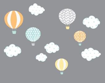 Hot Air Balloon Decals, Nursery Wall Decals, Cloud Wall Stickers, Kids Balloon Decals, Wall Stickers-Baby Nursery Decor-e27