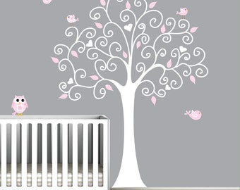 Wall Decal Tree with Owl-Nursery Wall Art Sticker-e29