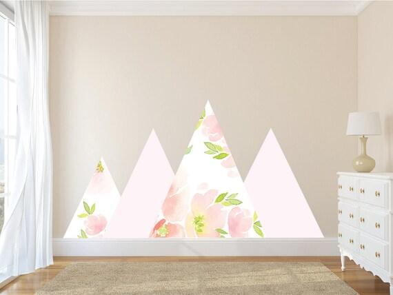 Berg-Wandtattoos, Kinderzimmer Wandtattoo Blumen Wandtattoo, rosa Mädchen  Wandtattoos, Aufkleber-Kinderzimmer-Wand-Dekor