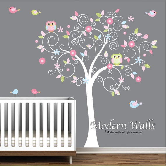 Phenomenal Tree Wall Decal Flowers Owls Birds Baby Room Decals Nursery Wall Art Decals E44 Download Free Architecture Designs Rallybritishbridgeorg