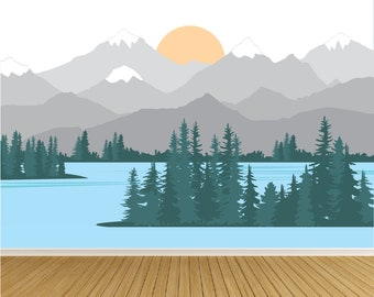 Mountain Wall Decals Mural / Lake / Water / Mountains / Nursery Wall Decals / Wall Art / Mountains