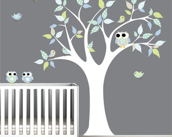 Children Vinyl Wall Decals Nursery Tree Wall Decal with Birds Owls-e137
