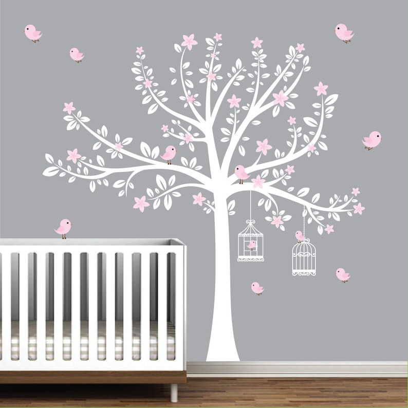01f6ee6a37 Tree Wall Decals Nursery Wall Decals Flower Stickers Pink | Etsy