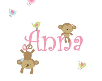 Nursery Wall Decals Name Decal with Monkeys,Birds-Children's Vinyl Wall Decals-e20