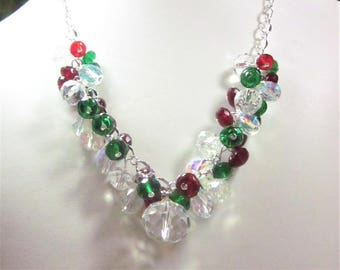 Holiday Crystal Necklace Set - Party, Choker, Bib, Necklace,  Christmas,Holida, SRAJD,  OOAK