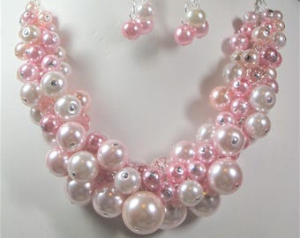 Pearl Cluster Necklace in Shades of Rose and Pink- Chunky, Choker, Bib, Necklace, Wedding, Bridal, Bridesmaid