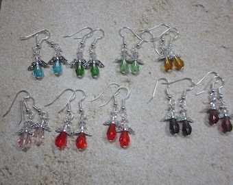 Petite Crystal Angel Earrings, Multi-Color Options- Handmade, SRAJD