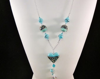 """Sterling Silver Necklace- """"Turquoise Mosaic"""" -The Heart Collection - Artisan Lampwork Glass, Swarovski Crystal, Unique, One of a Kind, SRAJD"""