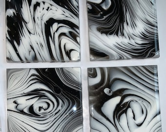 Coasters, Set of 4 Handcrafted acrylic painted, Resin