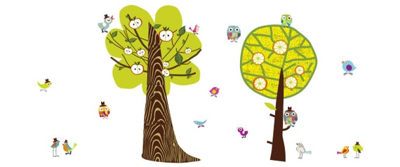 Chirpie Tree Reusable Fabric Wall Decals by Pop /& Lolli