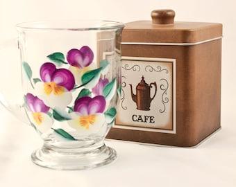 Hand Painted Coffee Mug, Purple Pansy