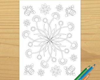 Printable BEE COLORING PAGE - Flower Garden, Digital Download, EvisionArts