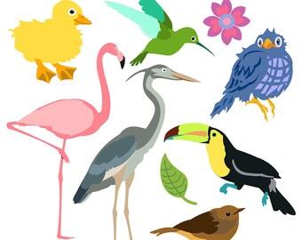 Bird Clipart Clip Art Flamingo Toucan Robin Songbird Blue Jay Duckling