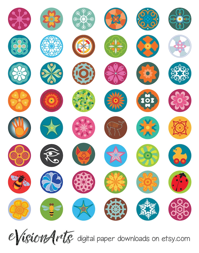 Flower bottle cap images bottlecap images one inch circles image 0